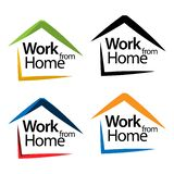 Work from home and house icon stock vector, flat designs vector illustration