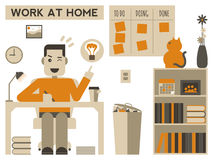 Work at home. Illustration of a happy man working at home Royalty Free Stock Photography