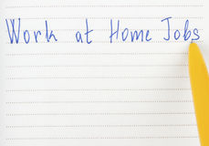 Work at home jobs on page Stock Images