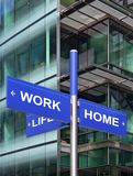 Work Home Life sign. In a City context stock photo
