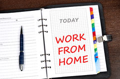 Work from home message. On today page stock photos