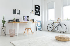 Work from home. Modern freelancer`s studio prepared for work from home royalty free stock photos