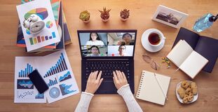 Work from home. people make video conference with multi colleague via laptop computer during self isolation to avoid spreading