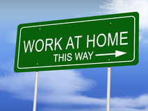 Work at Home Road Sign stock images
