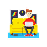 Work at home on sofa Royalty Free Stock Photos