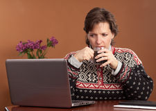 Work from Home Woman Royalty Free Stock Photography