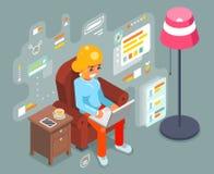 Work home wonam girl sit armchair laptop working internet isometric flat design vector illustration Vector Illustration