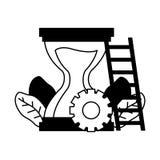 Work hourglass clock stairs. Gear vector illustration vector illustration