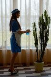 Work of housemaid. Royalty Free Stock Photography