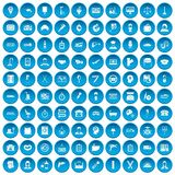 100 work icons set blue. 100 work icons set in blue circle isolated on white vector illustration Stock Photos