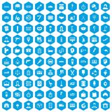 100 work icons set blue. 100 work icons set in blue hexagon isolated vector illustration Stock Illustration