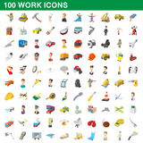 100 work icons set, cartoon style. 100 work icons set in cartoon style for any design vector illustration Stock Photos