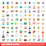 100 work icons set, cartoon style Stock Photo