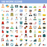 100 work icons set, flat style Royalty Free Stock Photo