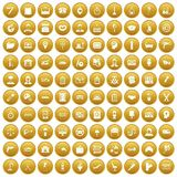 100 work icons set gold. 100 work icons set in gold circle isolated on white vector illustration Stock Illustration
