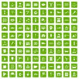 100 work icons set grunge green. 100 work icons set in grunge style green color isolated on white background vector illustration royalty free illustration