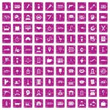 100 work icons set grunge pink. 100 work icons set in grunge style pink color isolated on white background vector illustration Vector Illustration