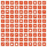 100 work icons set grunge orange. 100 work icons set in grunge style orange color isolated on white background vector illustration Vector Illustration