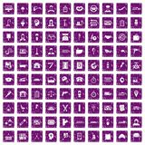 100 work icons set grunge purple. 100 work icons set in grunge style purple color isolated on white background vector illustration Stock Illustration