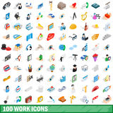 100 work icons set, isometric 3d style Royalty Free Stock Photo
