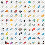 100 work icons set, isometric 3d style Royalty Free Stock Image