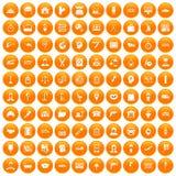 100 work icons set orange. 100 work icons set in orange circle isolated on white vector illustration vector illustration