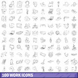 100 work icons set, outline style Royalty Free Stock Photo