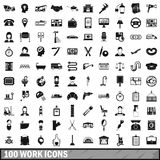 100 work icons set, simple style Royalty Free Stock Image