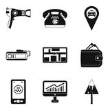 Work icons set, simple style. Work icons set. Simple set of 9 work vector icons for web isolated on white background Stock Photos