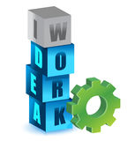 Work and idea gear cubes Royalty Free Stock Image