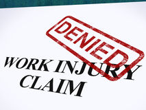 Work Injury Claim Denied Shows Medical Expenses Refused. Work Injury Claim Denied Showing Medical Expenses Refused Stock Photography