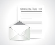 Work injury claim form documents paper Stock Image