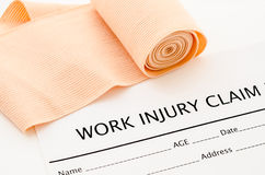 Work injury claim form showing business insurance concept. Royalty Free Stock Photography