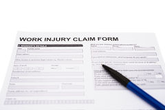 Work injury claim form on white Royalty Free Stock Photography