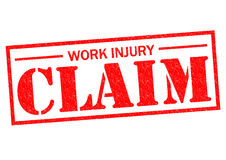 WORK INJURY CLAIM. Red Rubber Stamp over a white background Stock Photos