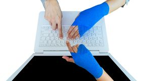 Work injury. injured woman hand sore with blue elastic bandage o. N hand isolated on white, clipping path included, wrist pain from using computer, office royalty free stock image