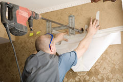 Work on installing a new air conditioner royalty free stock photo