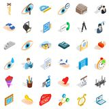 Work internet icons set, isometric style Stock Photos