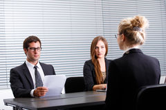 Work interview. Woman having a work interview Stock Photo