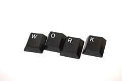 Work in Keys. Keyboard Keys W O R K to spell out WORK Royalty Free Stock Images