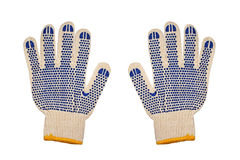 Work knitted gloves.Isolated. Stock Photos