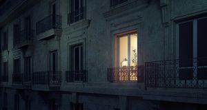 Work late at night, building exterior. 3D Rendering royalty free stock images