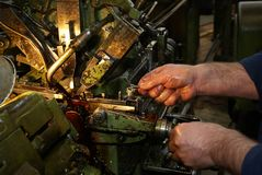 Work on a lathe Stock Images