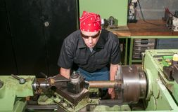 At work on a lathe. Stock Photo