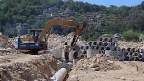 Work on laying Sewerage. Thailand stock footage