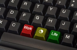 Work life balance. Close up of black keyboard with work life balance concept on different colored keys Stock Photo
