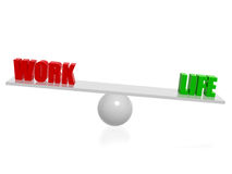 Work life balance. Red work green life balance 3d concept render Stock Images
