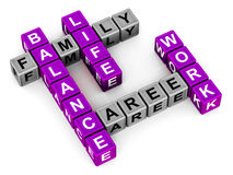 Work life balance. 3d crossword related to work life balance rendered in purple and grey Royalty Free Stock Photos