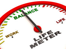 Work life balance. Balance of work and life shown in the gauge, with needle on balance Stock Photos