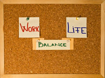 Work Life Balance on a board. Post it notes on a wooden board representing the Work-Life Balance concept Stock Images